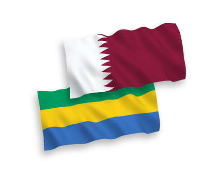National vector fabric wave flags of Gabon and Qatar isolated on white background. 1 to 2 proportion.