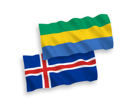 National vector fabric wave flags of Gabon and Iceland isolated on white background. 1 to 2 proportion. Ilustração