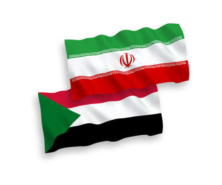National vector fabric wave flags of Sudan and Iran isolated on white background. 1 to 2 proportion.