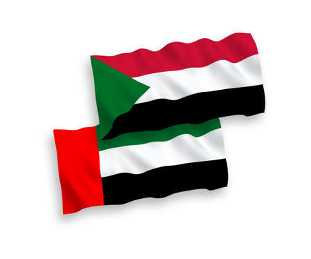 National vector fabric wave flags of Sudan and United Arab Emirates isolated on white background. 1 to 2 proportion.