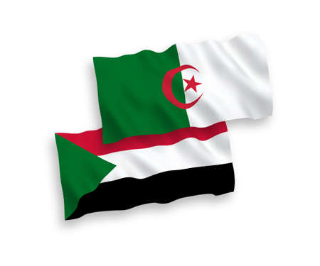 National vector fabric wave flags of Sudan and Algeria isolated on white background. 1 to 2 proportion.