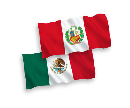 National vector fabric wave flags of Mexico and Peru isolated on white background. 1 to 2 proportion. Ilustração