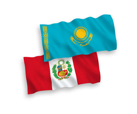 National vector fabric wave flags of Kazakhstan and Peru isolated on white background. 1 to 2 proportion. Ilustração