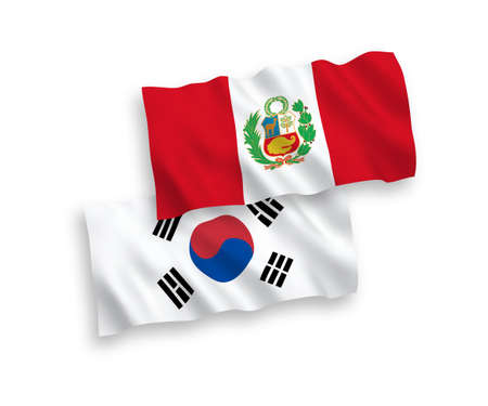 National vector fabric wave flags of South Korea and Peru isolated on white background. 1 to 2 proportion.