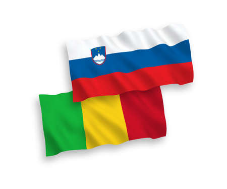 National vector fabric wave flags of Slovenia and Mali isolated on white background. 1 to 2 proportion.