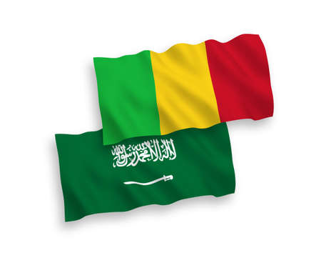 National vector fabric wave flags of Saudi Arabia and Mali isolated on white background. 1 to 2 proportion.