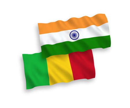 National vector fabric wave flags of India and Mali isolated on white background. 1 to 2 proportion. Ilustração