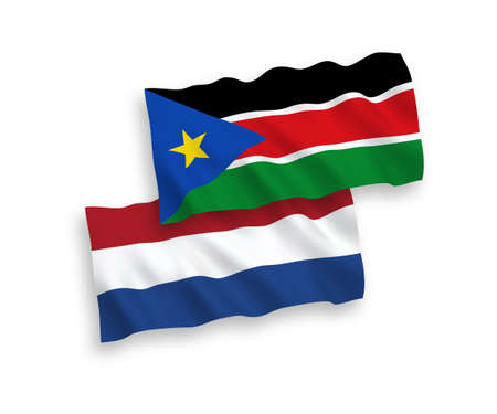 National vector fabric wave flags of Republic of South Sudan and Netherlands isolated on white background. 1 to 2 proportion.