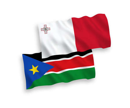 National vector fabric wave flags of Malta and Republic of South Sudan isolated on white background. 1 to 2 proportion.