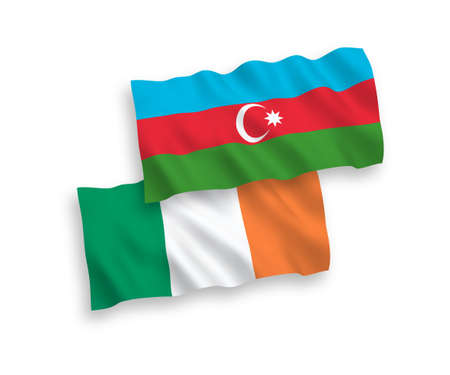 National vector fabric wave flags of Ireland and Azerbaijan isolated on white background. 1 to 2 proportion. Ilustração