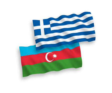 National vector fabric wave flags of Greece and Azerbaijan isolated on white background. 1 to 2 proportion. Ilustração