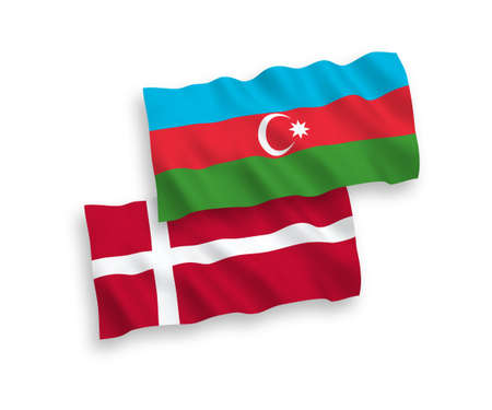 National vector fabric wave flags of Denmark and Azerbaijan isolated on white background. 1 to 2 proportion.