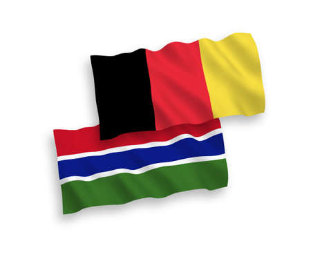 National vector fabric wave flags of Republic of Gambia and Belgium isolated on white background. 1 to 2 proportion.