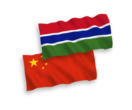 National vector fabric wave flags of Republic of Gambia and China isolated on white background 1 to 2 proportion.