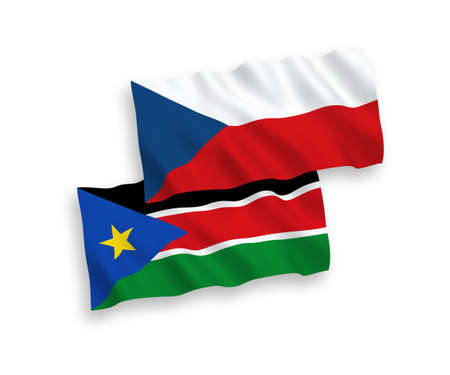 National vector fabric wave flags of Czech Republic and Republic of South Sudan isolated on white background. 1 to 2 proportion. 矢量图像