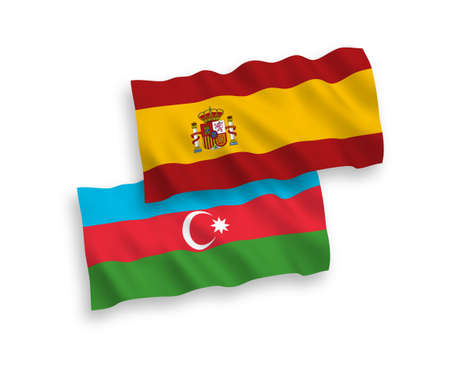 National vector fabric wave flags of Azerbaijan and Spain isolated on white background. 1 to 2 proportion. Ilustração