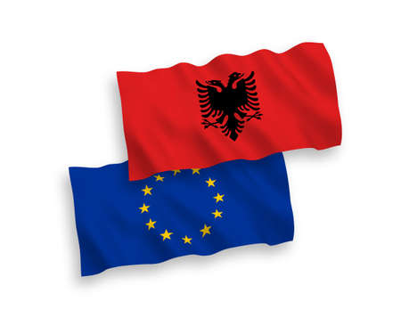 National vector fabric wave flags of European Union and Albania isolated on white background. 1 to 2 proportion.