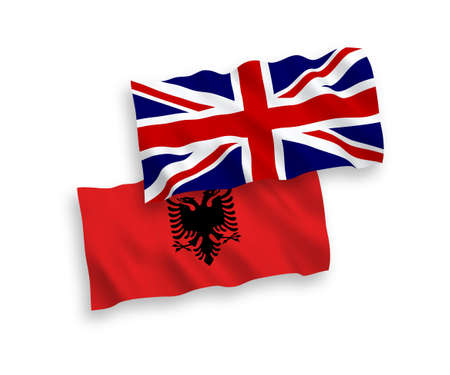 National vector fabric wave flags of Great Britain and Albania isolated on white background. 1 to 2 proportion. Vector Illustration