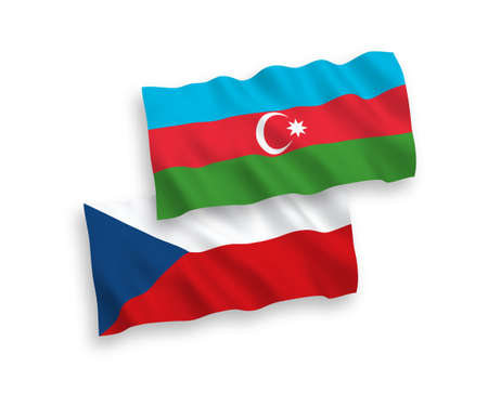 National vector fabric wave flags of Czech Republic and Azerbaijan isolated on white background. 1 to 2 proportion. 矢量图像