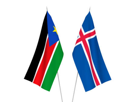 National fabric flags of Iceland and Republic of South Sudan isolated on white background. 3d rendering illustration.