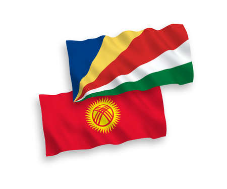 National vector fabric wave flags of Kyrgyzstan and Seychelles isolated on white background. 1 to 2 proportion.