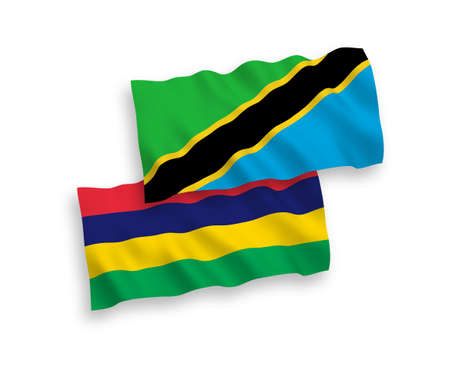 National vector fabric wave flags of Mauritius and Tanzania isolated on white background. 1 to 2 proportion.