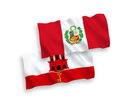 National vector fabric wave flags of Peru and Gibraltar isolated on white background. 1 to 2 proportion.