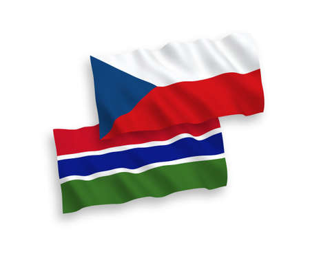 National vector fabric wave flags of Czech Republic and Republic of Gambia isolated on white background. 1 to 2 proportion.