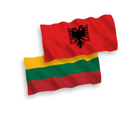 National vector fabric wave flags of Lithuania and Albania isolated on white background. 1 to 2 proportion.
