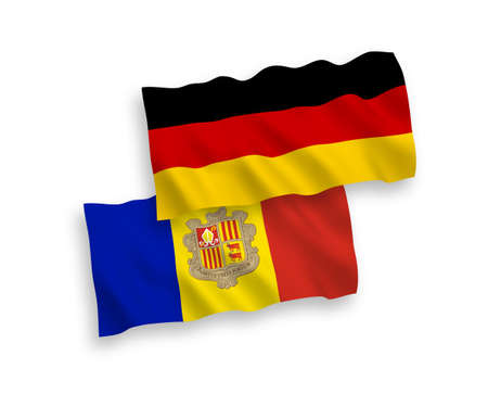 National vector fabric wave flags of Germany and Andorra isolated on white background. 1 to 2 proportion.