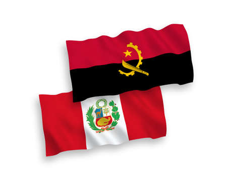 National vector fabric wave flags of Peru and Angola isolated on white background. 1 to 2 proportion.