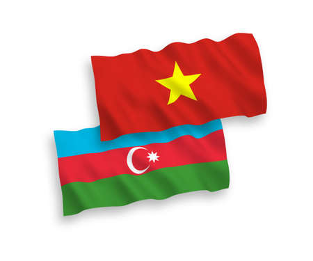 National vector fabric wave flags of Azerbaijan and Vietnam isolated on white background. 1 to 2 proportion.