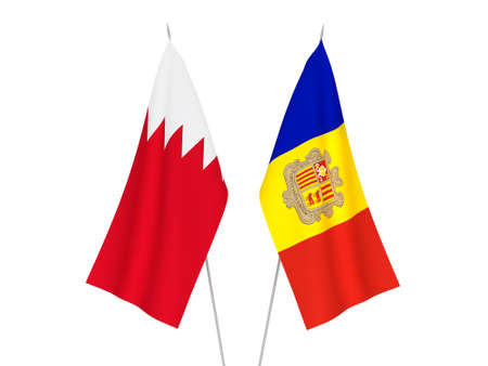 National fabric flags of Bahrain and Andorra isolated on white background. 3d rendering illustration.