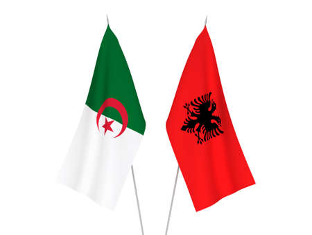 National fabric flags of Algeria and Albania isolated on white background. 3d rendering illustration. 版權商用圖片
