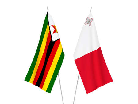 National fabric flags of Zimbabwe and Malta isolated on white background. 3d rendering illustration.