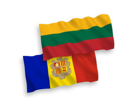 National vector fabric wave flags of Lithuania and Andorra isolated on white background. 1 to 2 proportion.