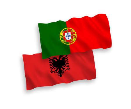 National vector fabric wave flags of Portugal and Albania isolated on white background. 1 to 2 proportion. Векторная Иллюстрация