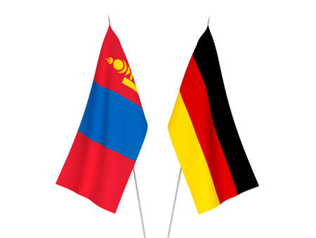 National fabric flags of Germany and Mongolia isolated on white background. 3d rendering illustration. 版權商用圖片
