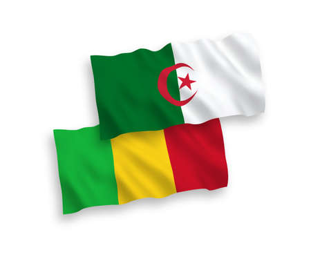 National vector fabric wave flags of Mali and Algeria isolated on white background. 1 to 2 proportion. Illustration