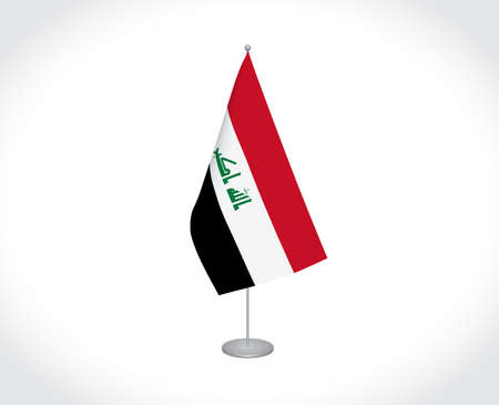 National fabric vector flag of Iraq isolated on white background.
