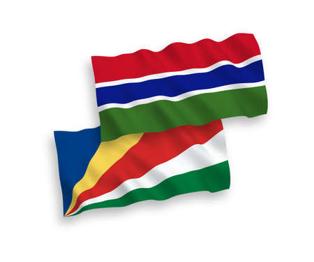National vector fabric wave flags of Republic of Gambia and Seychelles isolated on white background. 1 to 2 proportion.