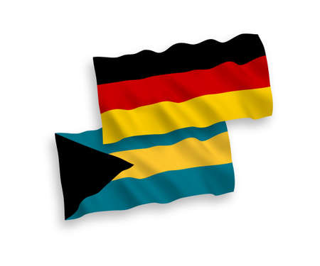 National vector fabric wave flags of Germany and Commonwealth of The Bahamas isolated on white background. 1 to 2 proportion.