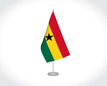 National fabric vector flag of Ghana isolated on white background.