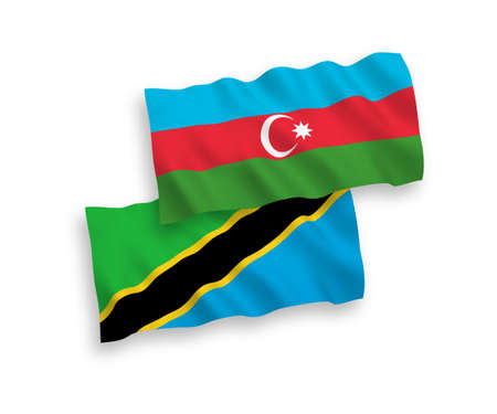 National vector fabric wave flags of Azerbaijan and Tanzania isolated on white background. 1 to 2 proportion.