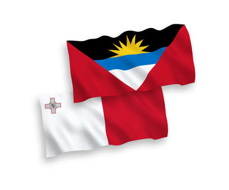 National vector fabric wave flags of Malta and Antigua and Barbuda isolated on white background. 1 to 2 proportion.