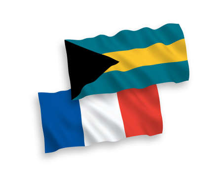 National vector fabric wave flags of France and Commonwealth of The Bahamas isolated on white background. 1 to 2 proportion. 矢量图像