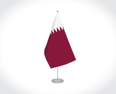 National fabric vector flag of Qatar isolated on white background.
