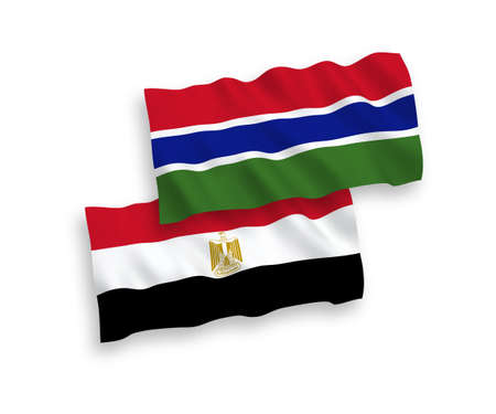 National vector fabric wave flags of Republic of Gambia and Egypt isolated on white background. 1 to 2 proportion.