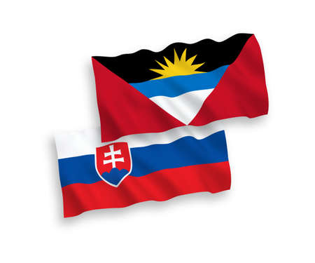 National vector fabric wave flags of Slovakia and Antigua and Barbuda isolated on white background. 1 to 2 proportion.