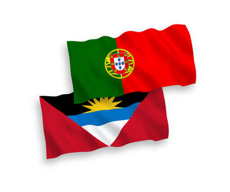 National vector fabric wave flags of Portugal and Antigua and Barbuda isolated on white background. 1 to 2 proportion.